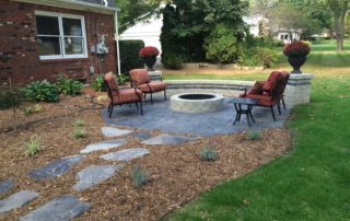 Stamped Concrete Patio with Fire Pit & Seatwall
