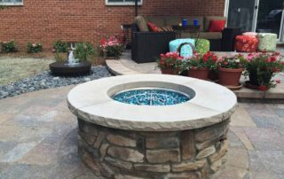 Natural Gas Fire Pit with Millstone Water Feature