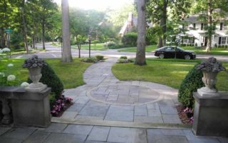 Bluestone Entrance Paving with Limestone Copings