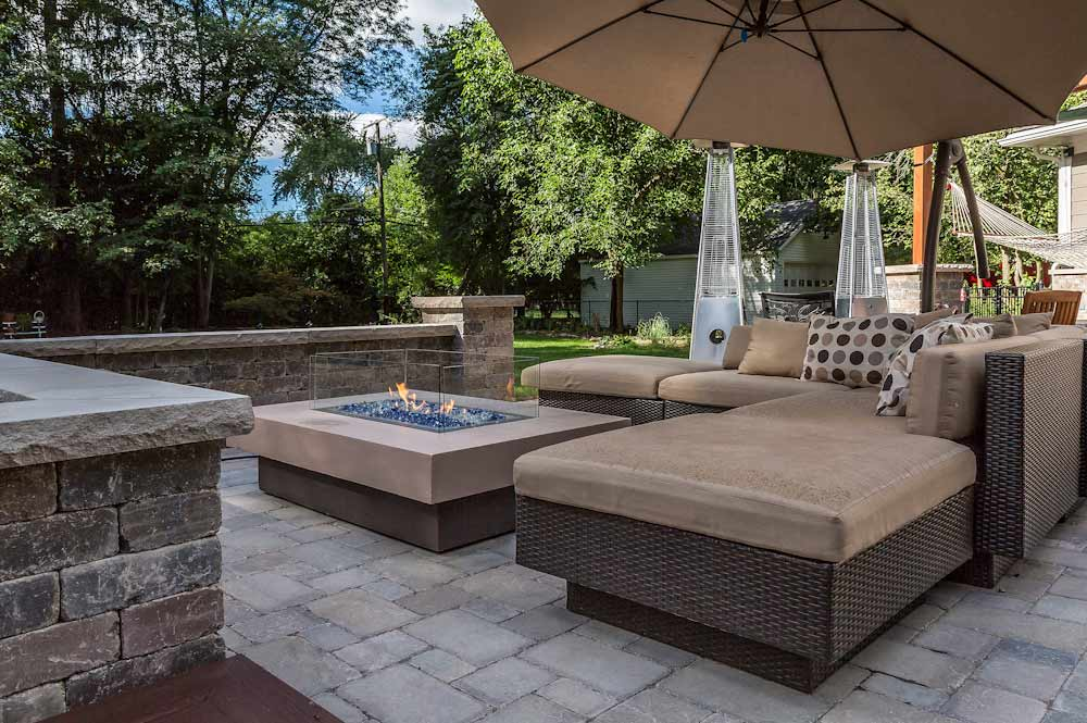 Gas Fire Pit on Unilock Brussels Coffee Creek Pavers
