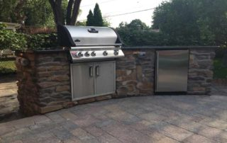 Outdoor BBQ Grill Island with Outdoor Refrigerator